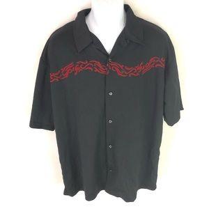 Anchor Blue Men's Black Flame Button Front Shirt L